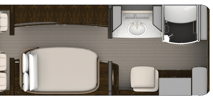 Rendering of Master Suite aircraft floorplan
